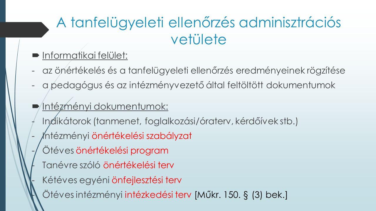 A tanfelügyeleti ellenőrzés adminisztrációs vetülete  Informatikai felület: -az önértékelés és a tanfelügyeleti ellenőrzés eredményeinek rögzítése -a