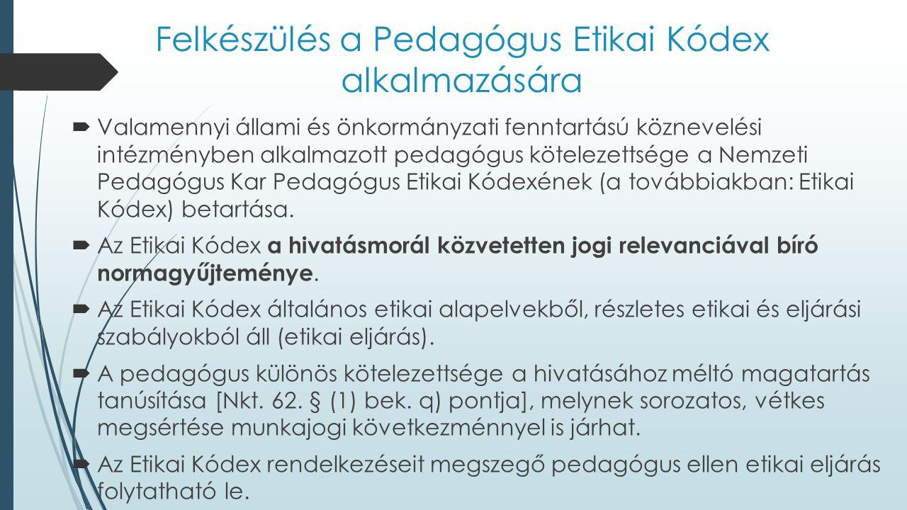 Felkészülés a Pedagógus Etikai Kódex alkalmazására  Valamennyi állami és önkormányzati fenntartású köznevelési intézményben alkalmazott pedagógus köt