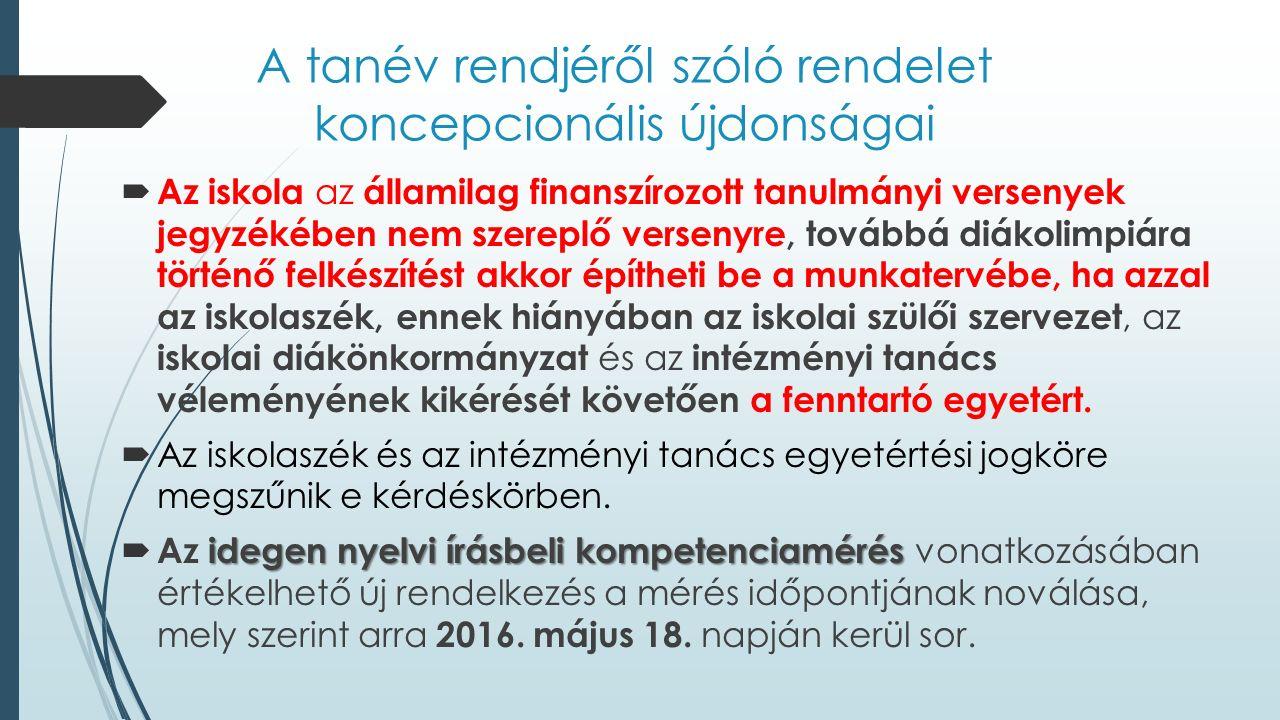 A szakmai ellenőrzés céltémái a 2015/2016.