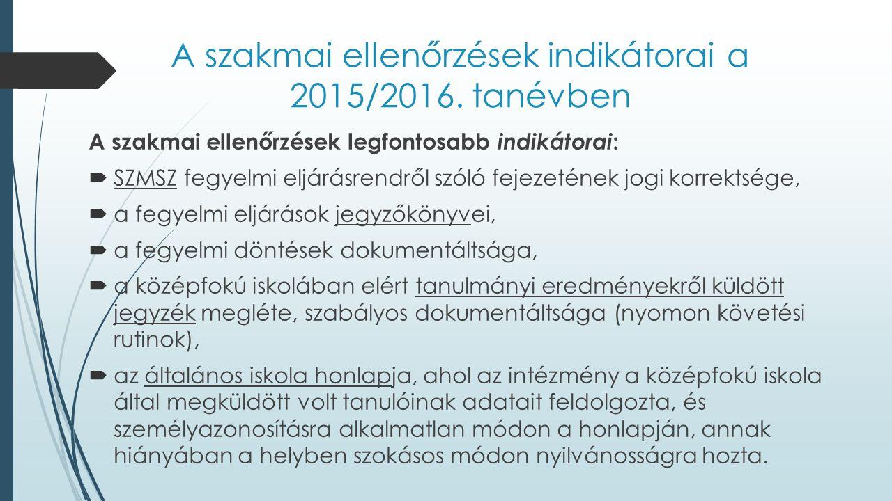 A szakmai ellenőrzések indikátorai a 2015/2016. tanévben A szakmai ellenőrzések legfontosabb indikátorai :  SZMSZ fegyelmi eljárásrendről szóló fejez