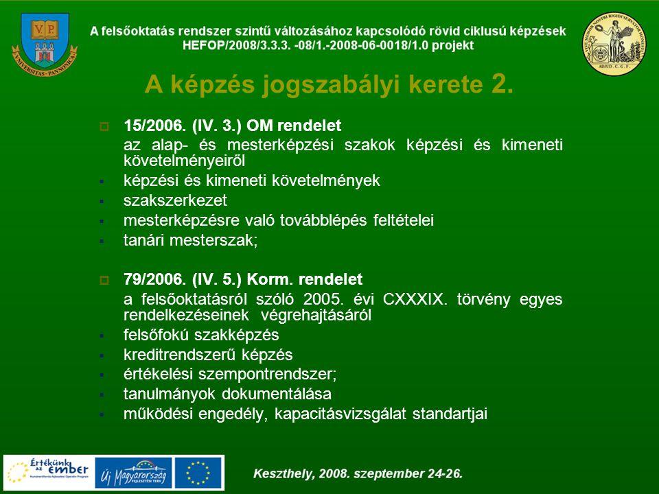 A képzés jogszabályi kerete 2.  15/2006. (IV.