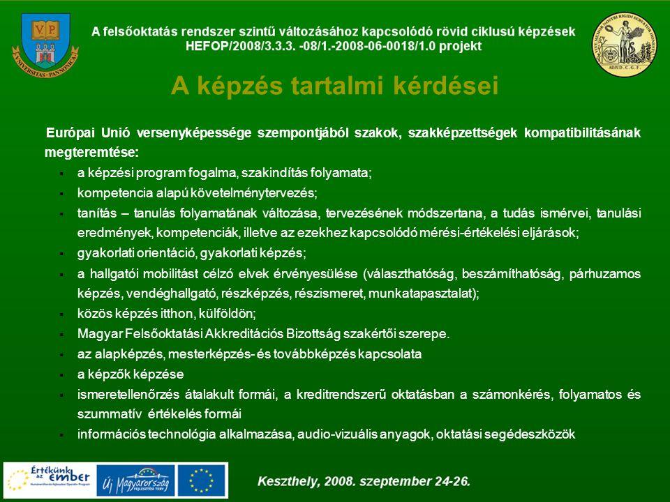 A képzés tartalmi kérdései Európai Unió versenyképessége szempontjából szakok, szakképzettségek kompatibilitásának megteremtése:  a képzési program fogalma, szakindítás folyamata;  kompetencia alapú követelménytervezés;  tanítás – tanulás folyamatának változása, tervezésének módszertana, a tudás ismérvei, tanulási eredmények, kompetenciák, illetve az ezekhez kapcsolódó mérési-értékelési eljárások;  gyakorlati orientáció, gyakorlati képzés;  a hallgatói mobilitást célzó elvek érvényesülése (választhatóság, beszámíthatóság, párhuzamos képzés, vendéghallgató, részképzés, részismeret, munkatapasztalat);  közös képzés itthon, külföldön;  Magyar Felsőoktatási Akkreditációs Bizottság szakértői szerepe.