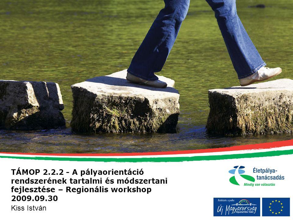 TÁMOP 2.2.2 - A pályaorientáció rendszerének tartalmi és módszertani fejlesztése – Regionális workshop 2009.09.30 Kiss István