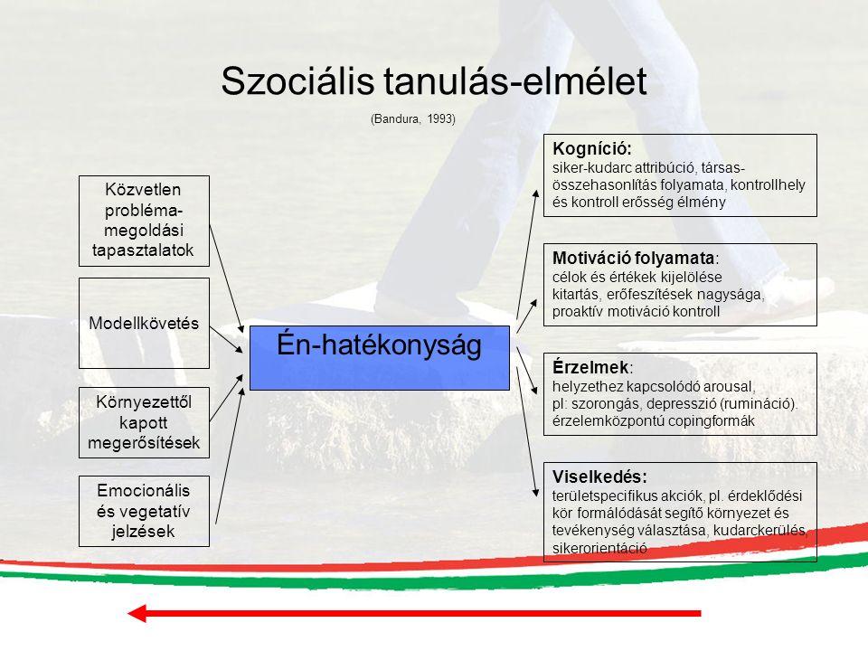 Szociális tanulás-elmélet Én-hatékonyság Közvetlen probléma- megoldási tapasztalatok Modellkövetés Környezettől kapott megerősítések Emocionális és vegetatív jelzések Kogníció: siker-kudarc attribúció, társas- összehasonlítás folyamata, kontrollhely és kontroll erősség élmény Motiváció folyamata: célok és értékek kijelölése kitartás, erőfeszítések nagysága, proaktív motiváció kontroll Érzelmek: helyzethez kapcsolódó arousal, pl: szorongás, depresszió (rumináció).