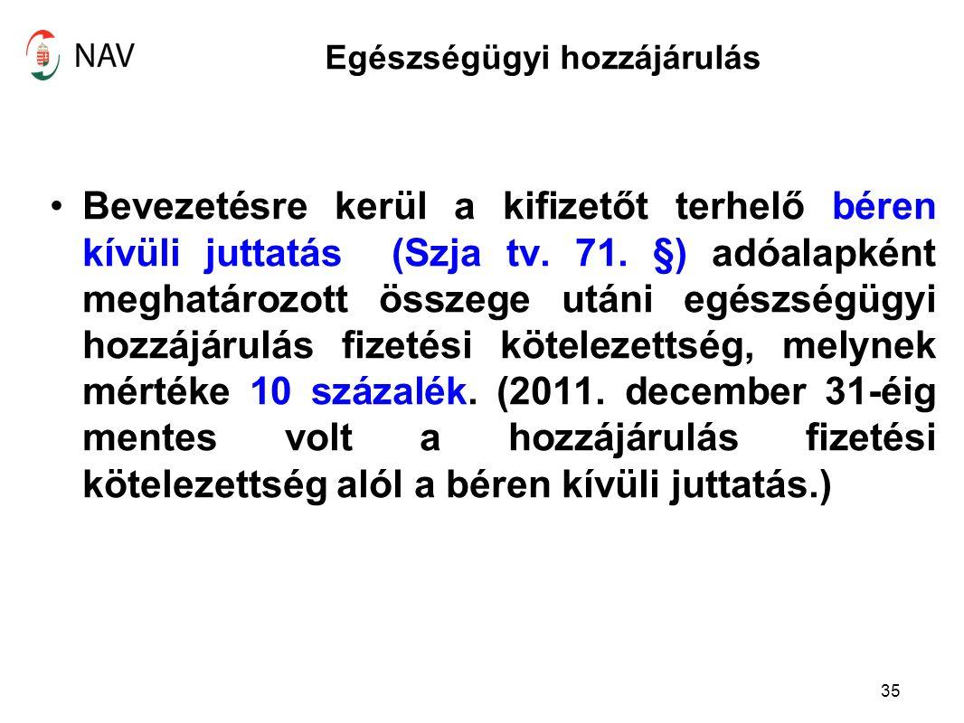 Egészségügyi hozzájárulás Bevezetésre kerül a kifizetőt terhelő béren kívüli juttatás (Szja tv.