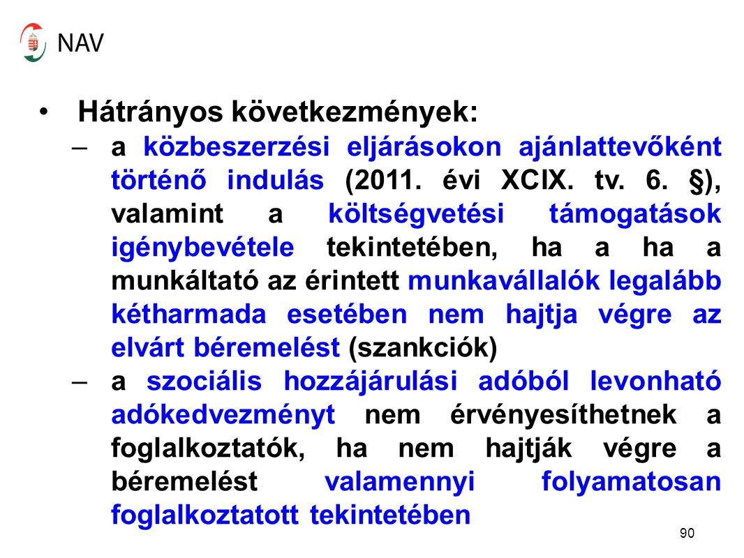 90 Hátrányos következmények: –a közbeszerzési eljárásokon ajánlattevőként történő indulás (2011.