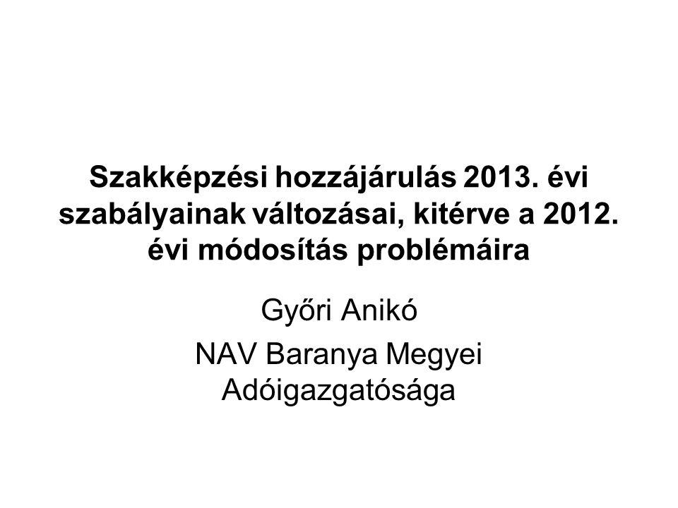 A bruttó kötelezettség csökkentése A szakképzési hozzájárulást gyakorlati képzés szervezésével teljesítő hozzájárulásra kötelezett a bruttó kötelezettsége mértékét 2012-2013.