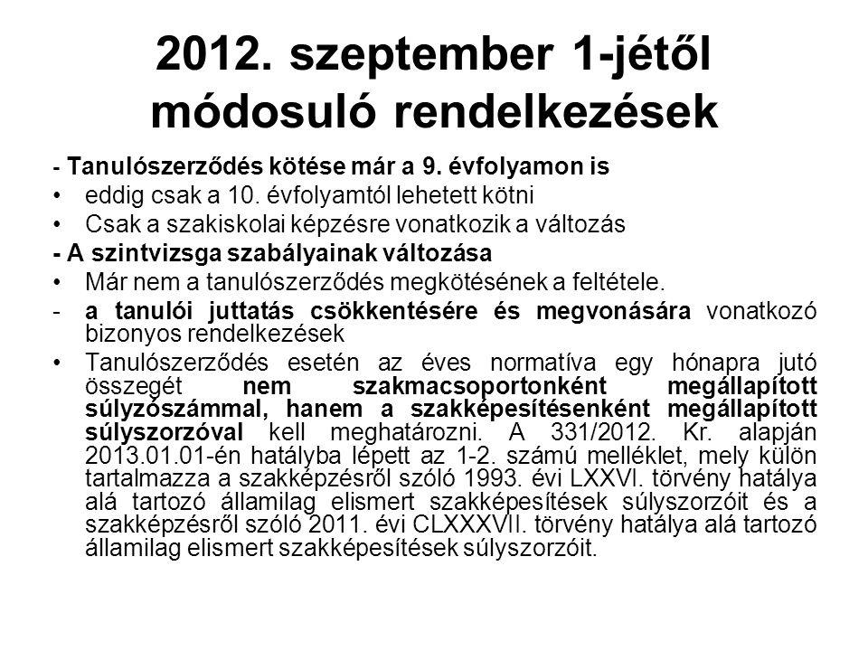 2012. szeptember 1-jétől módosuló rendelkezések - Tanulószerződés kötése már a 9.