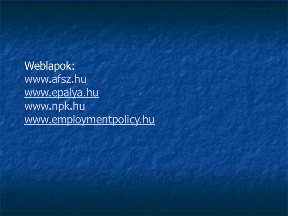 Weblapok: www.afsz.hu www.epalya.hu www.npk.hu www.employmentpolicy.hu