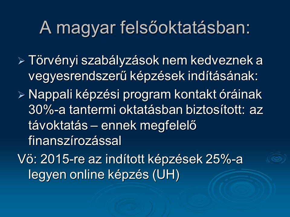 A magyar felsőoktatásban:  Törvényi szabályzások nem kedveznek a vegyesrendszerű képzések indításának:  Nappali képzési program kontakt óráinak 30%-a tantermi oktatásban biztosított:az távoktatás – ennek megfelelő finanszírozással Vö: 2015-re az indított képzések 25%-a legyen online képzés (UH)