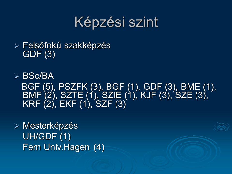 Képzési szint  Felsőfokú szakképzés GDF (3)  BSc/BA BGF (5), PSZFK (3), BGF (1), GDF (3), BME (1), BMF (2), SZTE (1), SZIE (1), KJF (3), SZE (3), KRF (2), EKF (1), SZF (3) BGF (5), PSZFK (3), BGF (1), GDF (3), BME (1), BMF (2), SZTE (1), SZIE (1), KJF (3), SZE (3), KRF (2), EKF (1), SZF (3)  Mesterképzés UH/GDF (1) Fern Univ.Hagen (4)
