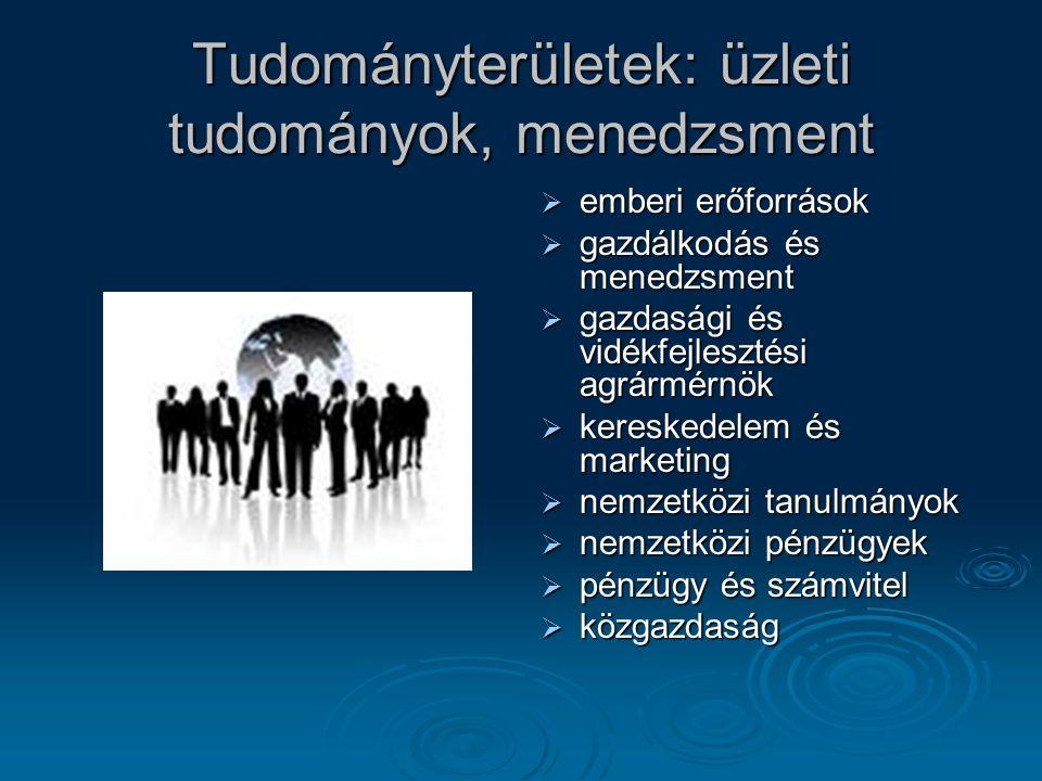 Tudományterületek: üzleti tudományok, menedzsment  emberi erőforrások  gazdálkodás és menedzsment  gazdasági és vidékfejlesztési agrármérnök  kereskedelem és marketing  nemzetközi tanulmányok  nemzetközi pénzügyek  pénzügy és számvitel  közgazdaság