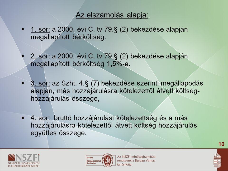 10 Az elszámolás alapja:  1. sor: a 2000. évi C. tv 79.§ (2) bekezdése alapján megállapított bérköltség.  2. sor: a 2000. évi C. tv 79.§ (2) bekezdé