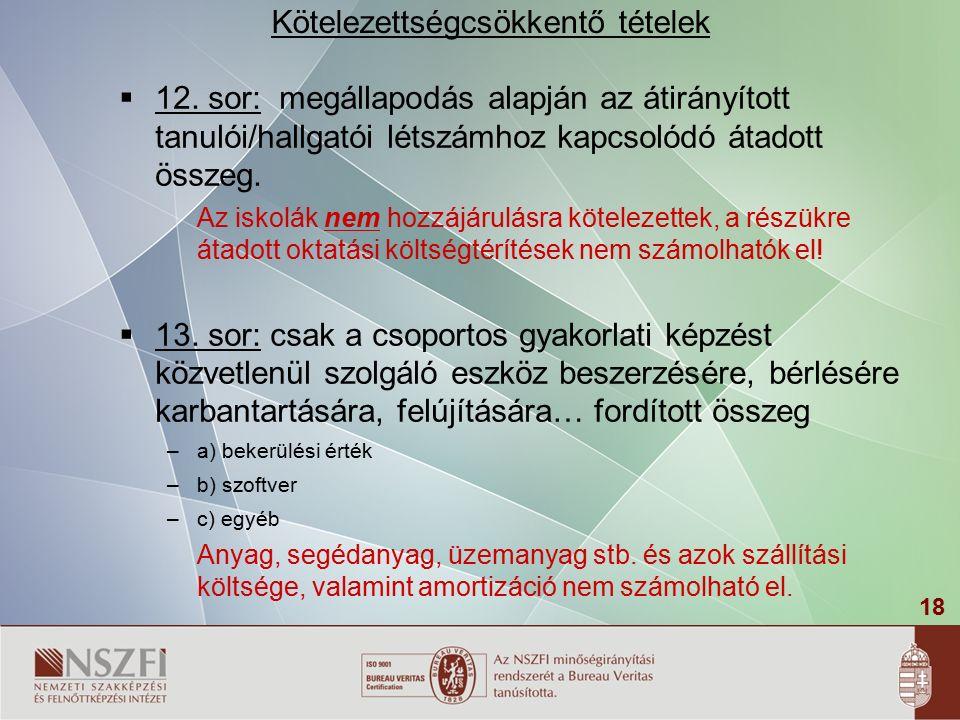 18  12. sor: megállapodás alapján az átirányított tanulói/hallgatói létszámhoz kapcsolódó átadott összeg. Az iskolák nem hozzájárulásra kötelezettek,