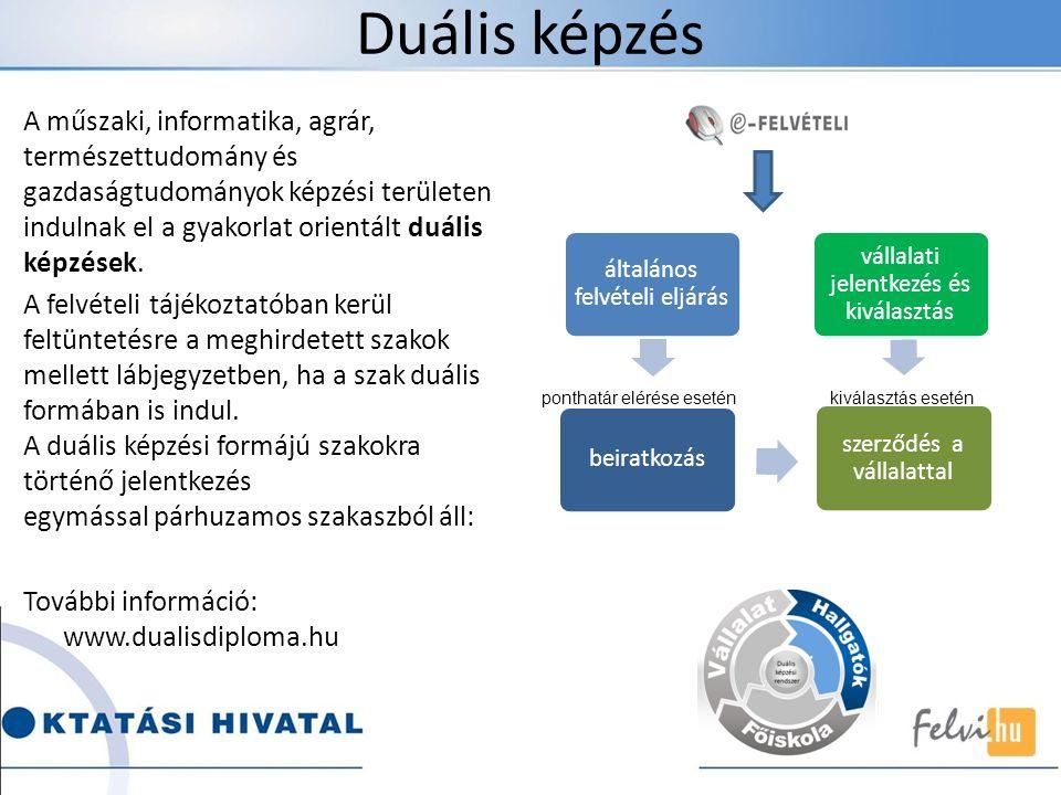 Duális képzés A műszaki, informatika, agrár, természettudomány és gazdaságtudományok képzési területen indulnak el a gyakorlat orientált duális képzés