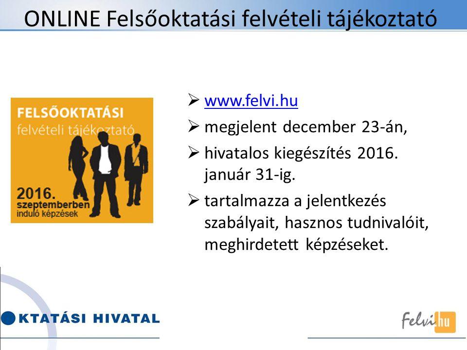 ONLINE Felsőoktatási felvételi tájékoztató  www.felvi.hu www.felvi.hu  megjelent december 23-án,  hivatalos kiegészítés 2016. január 31-ig.  tarta