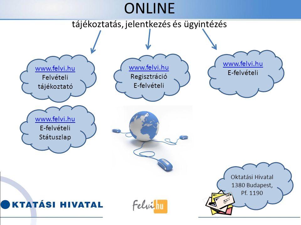 ONLINE tájékoztatás, jelentkezés és ügyintézés www.felvi.hu Felvételi tájékoztató www.felvi.hu Regisztráció E-felvételi www.felvi.hu E-felvételi www.felvi.hu E-felvételi Státuszlap Oktatási Hivatal 1380 Budapest, Pf.