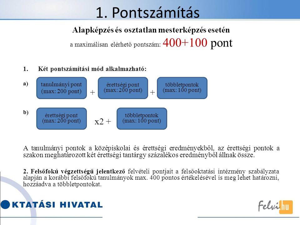 1. Pontszámítás Alapképzés és osztatlan mesterképzés esetén a maximálisan elérhető pontszám: 400+100 pont 1.Két pontszámítási mód alkalmazható: a) + +