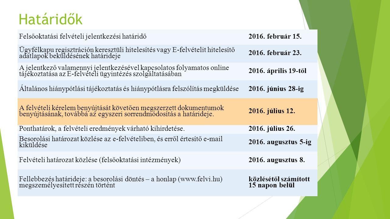 Határidők Felsőoktatási felvételi jelentkezési határidő2016. február 15. Ügyfélkapu regisztráción keresztüli hitelesítés vagy E-felvételit hitelesítő