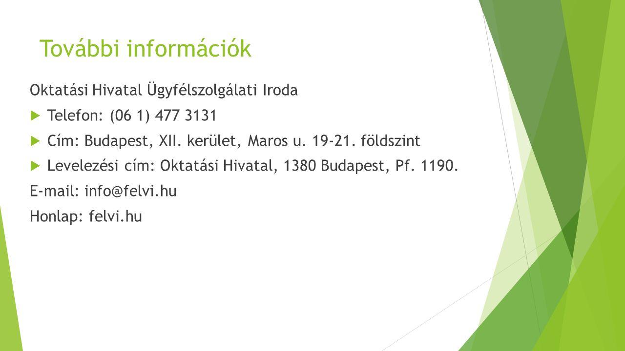 További információk Oktatási Hivatal Ügyfélszolgálati Iroda  Telefon: (06 1) 477 3131  Cím: Budapest, XII. kerület, Maros u. 19-21. földszint  Leve