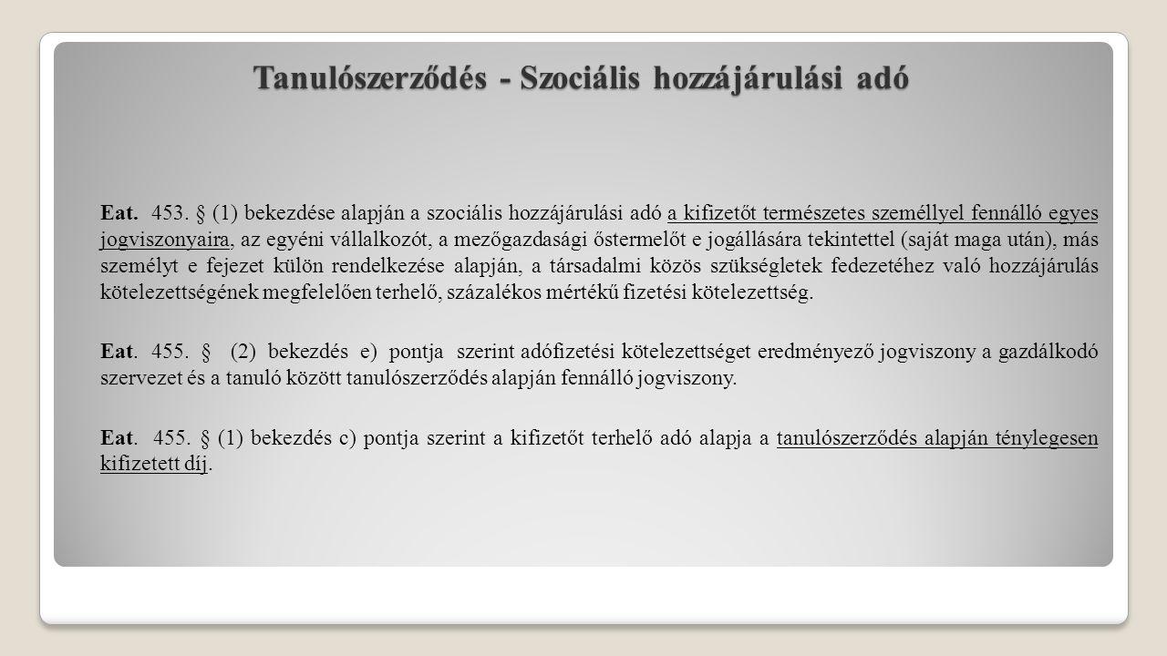 Tanulószerződés - Szociális hozzájárulási adó Eat. 453. § (1) bekezdése alapján a szociális hozzájárulási adó a kifizetőt természetes személlyel fenná