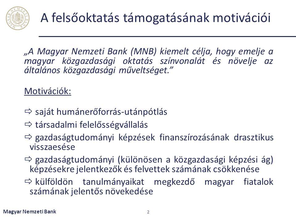 """A felsőoktatás támogatásának motivációi """"A Magyar Nemzeti Bank (MNB) kiemelt célja, hogy emelje a magyar közgazdasági oktatás színvonalát és növelje a"""