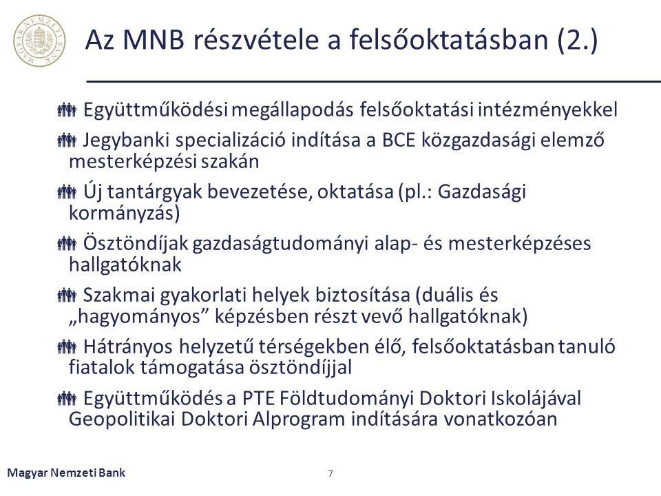 Az MNB részvétele a felsőoktatásban (2.)  Együttműködési megállapodás felsőoktatási intézményekkel  Jegybanki specializáció indítása a BCE közgazdas