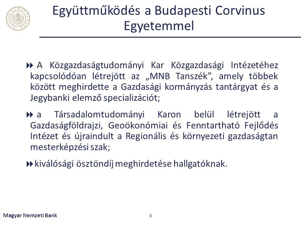 Együttműködés a Kecskeméti Főiskolával  együttműködés a duális képzés területén  mérnökképzés gazdasági vonatkozású megerősítése  felsőfokú oktatás gazdaságba történő mélyebb beágyazódásának elősegítése  a fiatalok helyben tanulásának és helyben boldogulásának elősegítése  reálgazdasági folyamatokkal is foglalkozó modern közgazdasági kutató, fejlesztő és oktatási központ létrehozása Magyar Nemzeti Bank 9