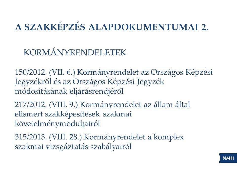 A SZAKKÉPZÉS ALAPDOKUMENTUMAI 2. KORMÁNYRENDELETEK 150/2012. (VII. 6.) Kormányrendelet az Országos Képzési Jegyzékről és az Országos Képzési Jegyzék m