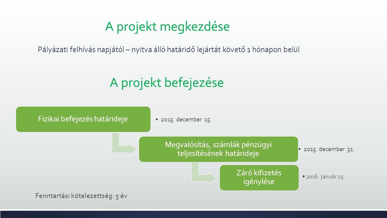 A projekt megkezdése Pályázati felhívás napjától – nyitva álló határidő lejártát követő 1 hónapon belül Fizikai befejezés határideje 2015.
