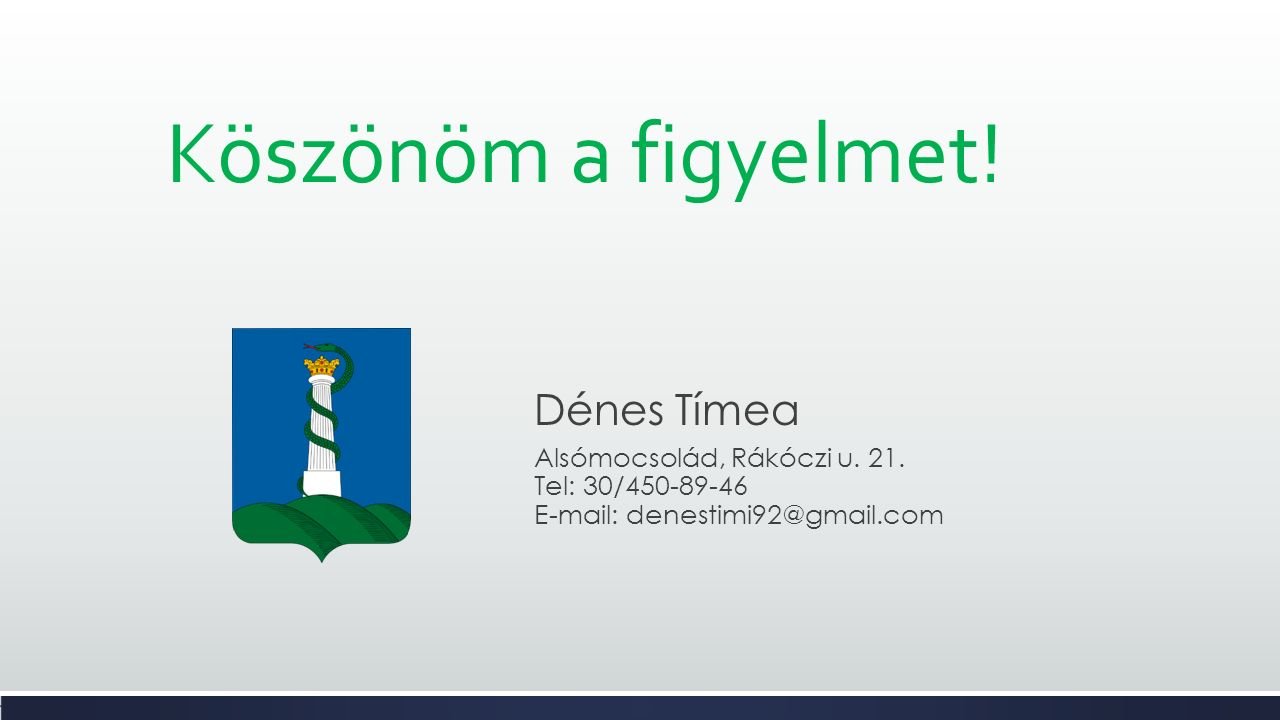 Köszönöm a figyelmet. Dénes Tímea Alsómocsolád, Rákóczi u.