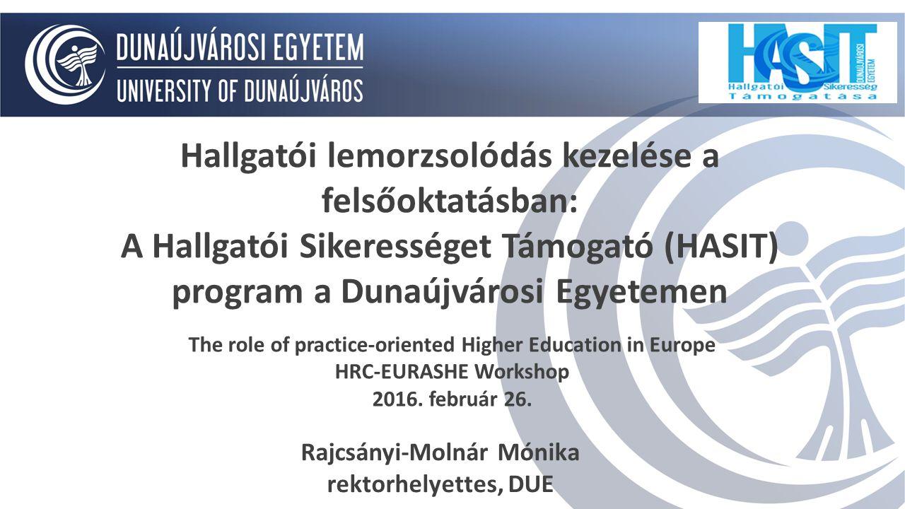 Hallgatói lemorzsolódás kezelése a felsőoktatásban: A Hallgatói Sikerességet Támogató (HASIT) program a Dunaújvárosi Egyetemen The role of practice-or