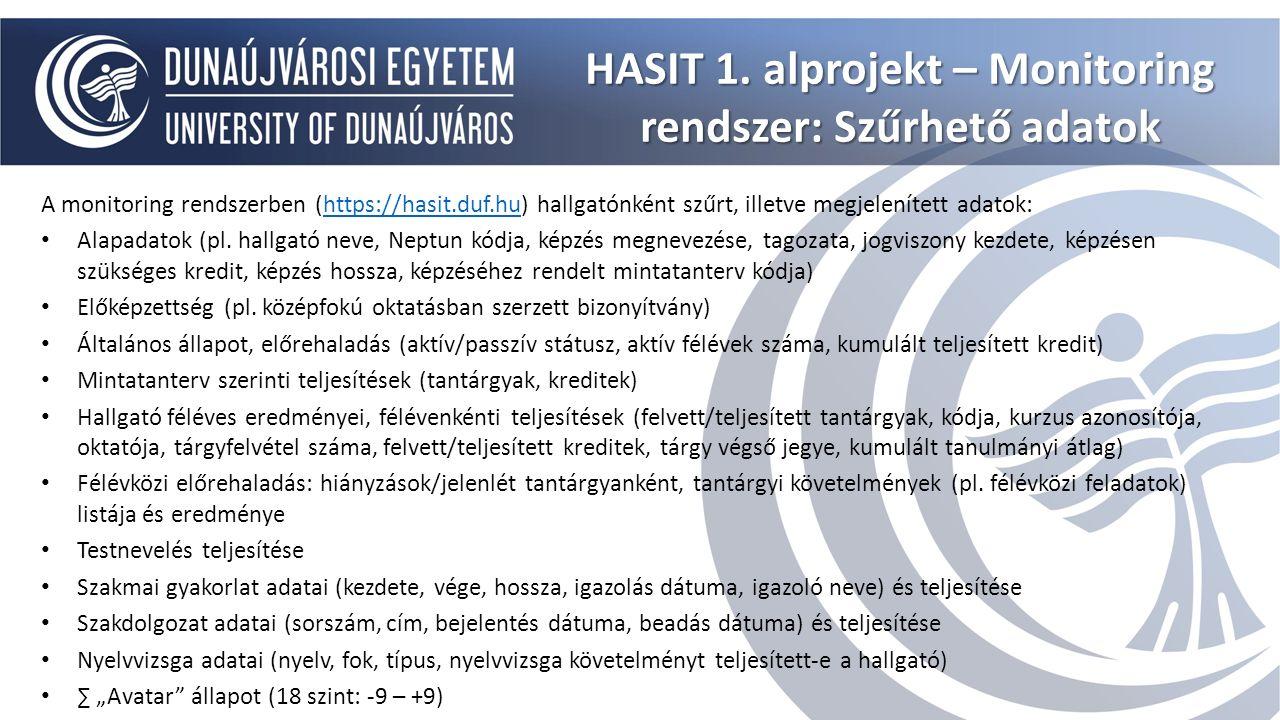 HASIT 1. alprojekt – Monitoring rendszer: Szűrhető adatok A monitoring rendszerben (https://hasit.duf.hu) hallgatónként szűrt, illetve megjelenített a