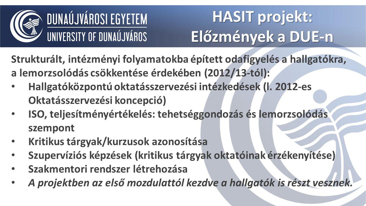"""HASIT Projekt fókuszai: Hallgatói lemorzsolódás csökkentése Tanulásközpontú környezet létrehozása Szakmentori rendszer hatékony működtetése, sikerkritériumok azonosítása Hallgatói motiváltság növelése HASIT projekt: """"Új oktatási filozófia - sikeres hallgató"""