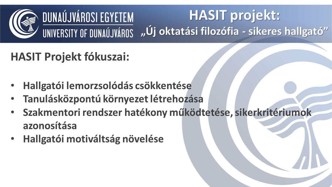 HASIT Projekt fókuszai: Hallgatói lemorzsolódás csökkentése Tanulásközpontú környezet létrehozása Szakmentori rendszer hatékony működtetése, sikerkrit