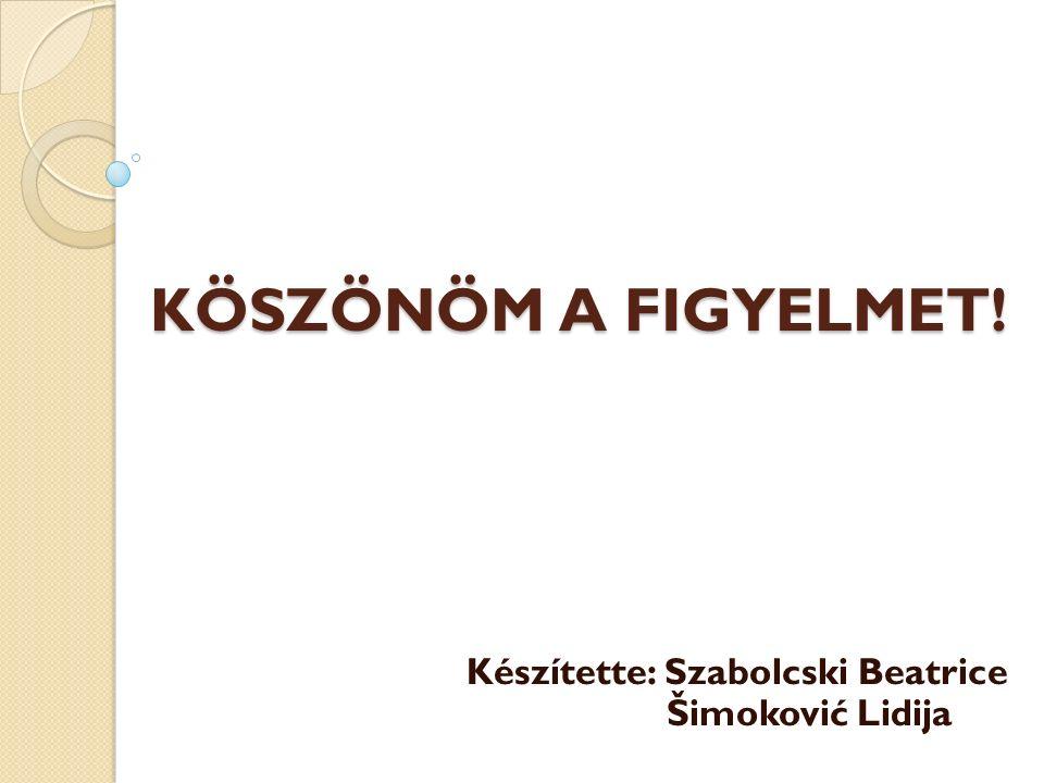 KÖSZÖNÖM A FIGYELMET! Készítette: Szabolcski Beatrice Šimoković Lidija