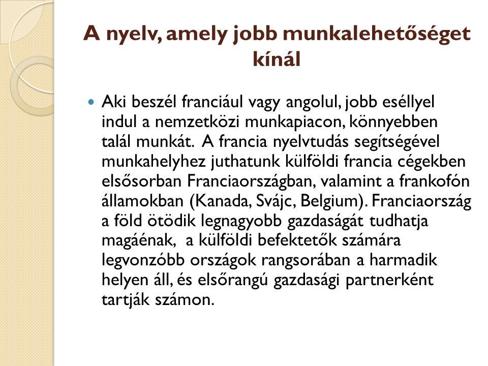 A nyelv, amely jobb munkalehetőséget kínál Aki beszél franciául vagy angolul, jobb eséllyel indul a nemzetközi munkapiacon, könnyebben talál munkát.