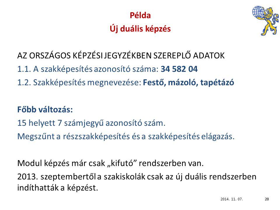 2014. 11. 07.20 Példa Új duális képzés AZ ORSZÁGOS KÉPZÉSI JEGYZÉKBEN SZEREPLŐ ADATOK 1.1.