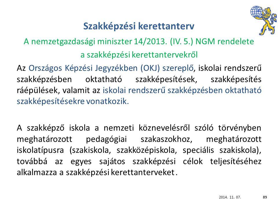 2014. 11. 07.89 Szakképzési kerettanterv A nemzetgazdasági miniszter 14/2013.