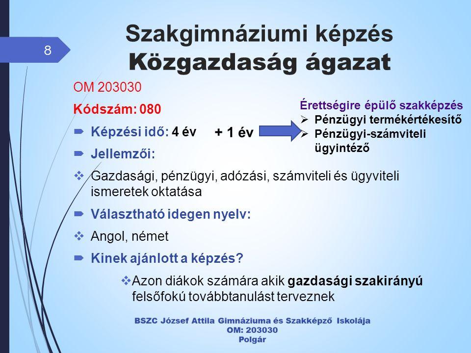 Szakgimnáziumi képzés Közgazdaság ágazat 8 OM 203030 Kódszám: 080  Képzési idő: 4 év  Jellemzői:  Gazdasági, pénzügyi, adózási, számviteli és ügyviteli ismeretek oktatása  Választható idegen nyelv:  Angol, német  Kinek ajánlott a képzés.