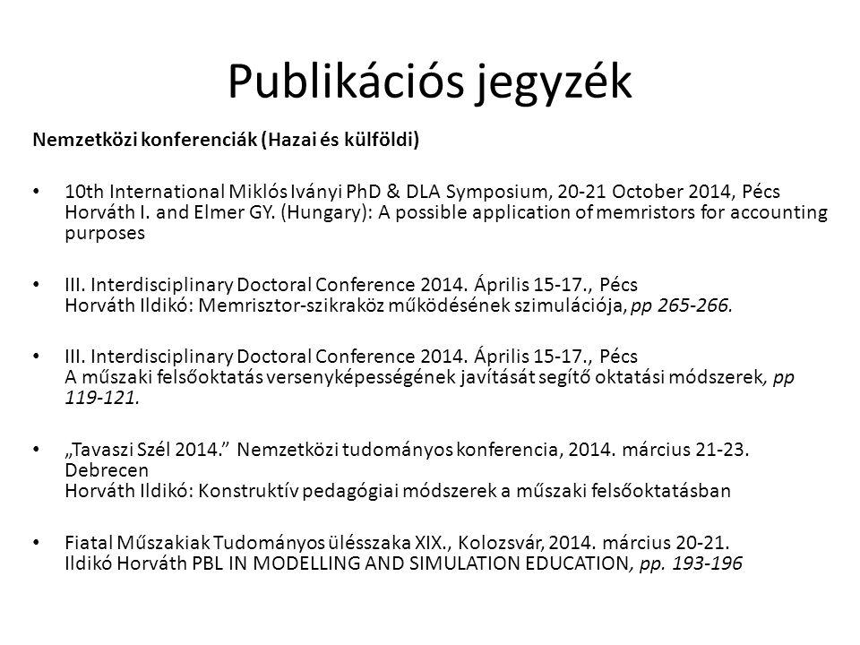 Nemzetközi konferenciák (Hazai és külföldi) 10th International Miklós Iványi PhD & DLA Symposium, 20-21 October 2014, Pécs Horváth I. and Elmer GY. (H