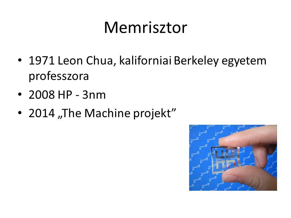 """Memrisztor 1971 Leon Chua, kaliforniai Berkeley egyetem professzora 2008 HP - 3nm 2014 """"The Machine projekt"""