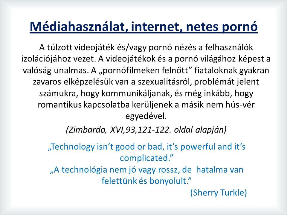 Médiahasználat, internet, netes pornó A túlzott videojáték és/vagy pornó nézés a felhasználók izolációjához vezet.