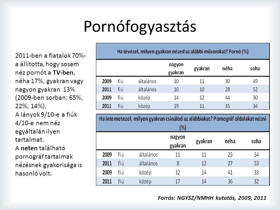 Pornófogyasztás 2011-ben a fiatalok 70%- a állította, hogy sosem néz pornót a TV-ben, néha 17%, gyakran vagy nagyon gyakran 13% (2009-ben sorban: 65%, 22%, 14%).