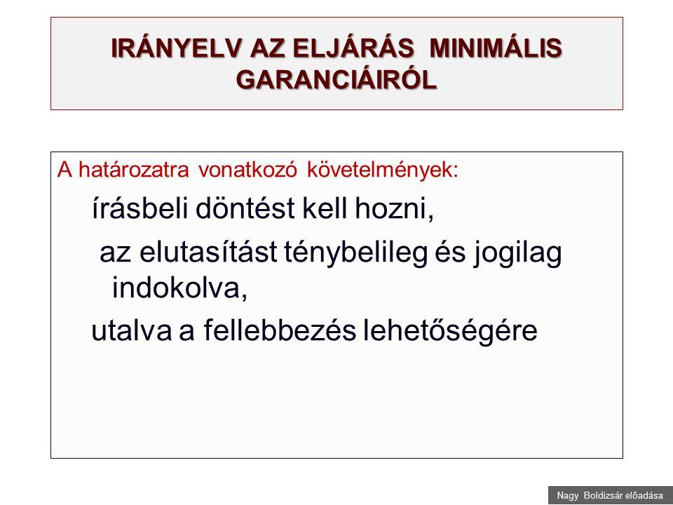 Nagy Boldizsár előadása IRÁNYELV AZ ELJÁRÁS MINIMÁLIS GARANCIÁIRÓL A határozatra vonatkozó követelmények: írásbeli döntést kell hozni, az elutasítást