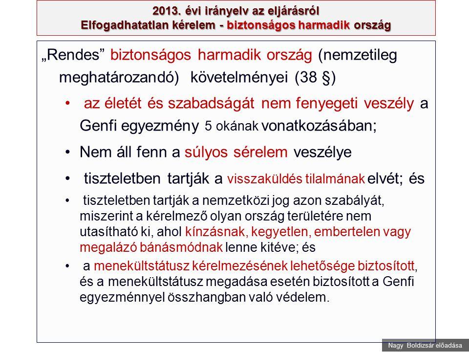 """Nagy Boldizsár előadása 2013. évi irányelv az eljárásról Elfogadhatatlan kérelem - biztonságos harmadik ország """"Rendes"""" biztonságos harmadik ország (n"""