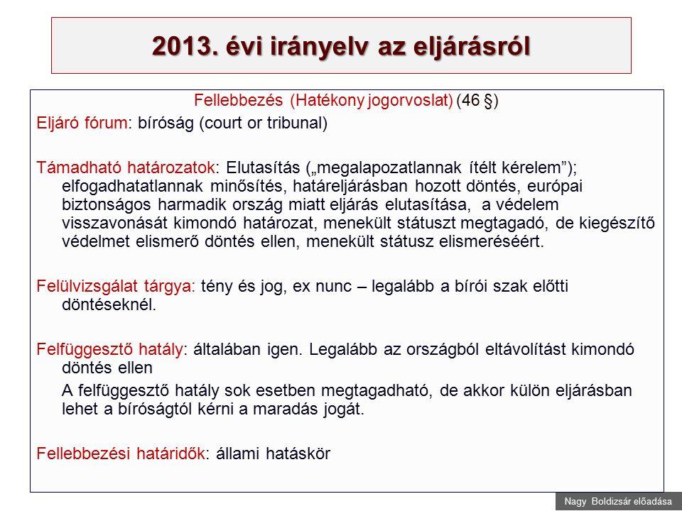 Nagy Boldizsár előadása 2013. évi irányelv az eljárásról Fellebbezés (Hatékony jogorvoslat) (46 §) Eljáró fórum: bíróság (court or tribunal) Támadható