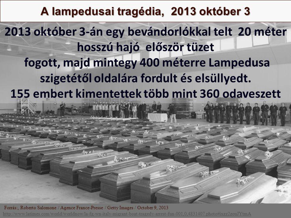 Nagy Boldizsár előadása A lampedusai tragédia, 2013 október 3 Forrás:, Roberto Salomone / Agence France-Presse / Getty Images / October 9, 2013 http:/
