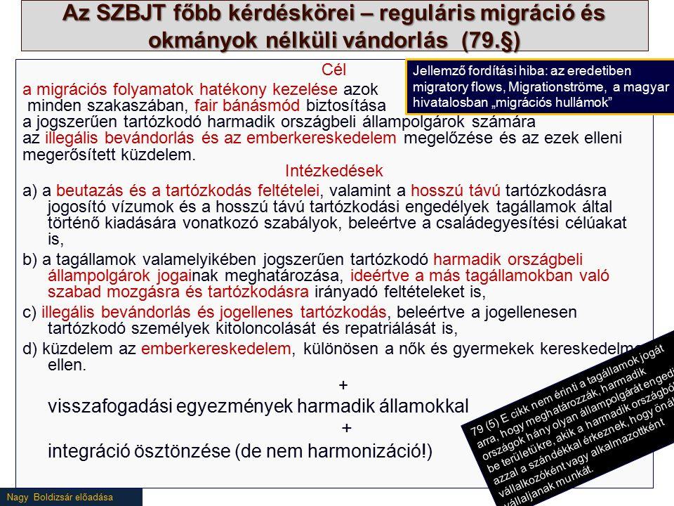 Nagy Boldizsár előadása Az SZBJT főbb kérdéskörei – reguláris migráció és okmányok nélküli vándorlás (79.§) Cél a migrációs folyamatok hatékony kezelése azok minden szakaszában, fair bánásmód biztosítása a jogszerűen tartózkodó harmadik országbeli állampolgárok számára az illegális bevándorlás és az emberkereskedelem megelőzése és az ezek elleni megerősített küzdelem.