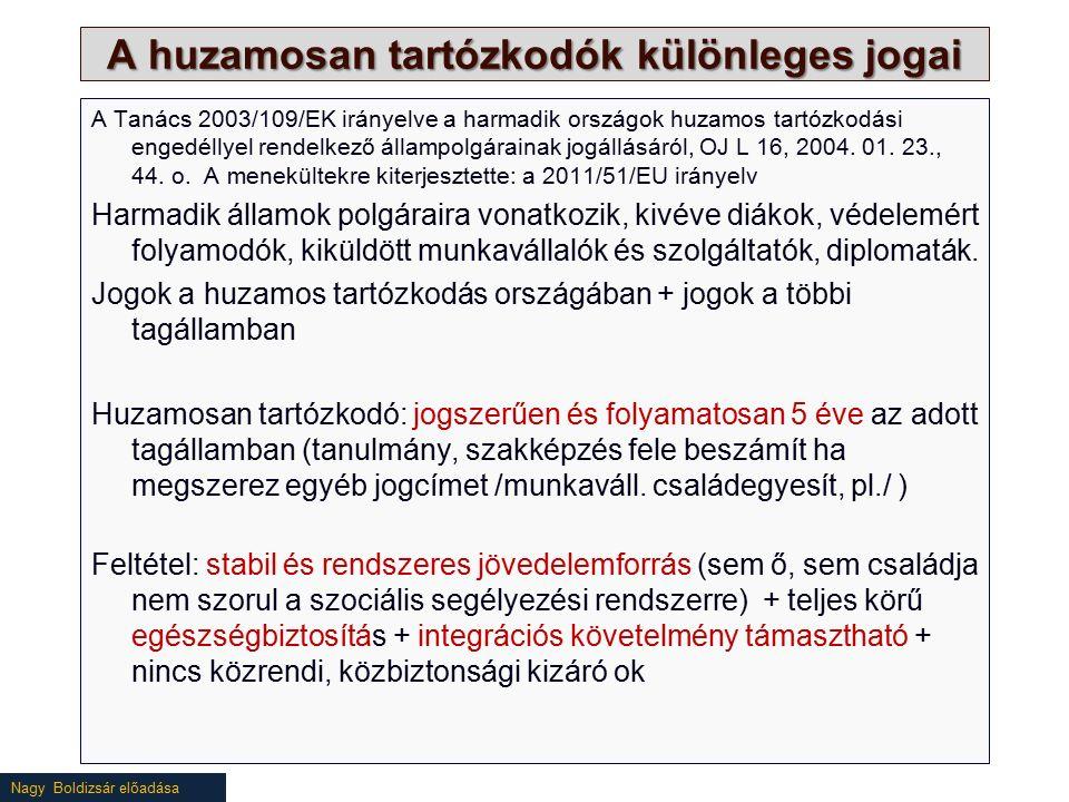 Nagy Boldizsár előadása A huzamosan tartózkodók különleges jogai A Tanács 2003/109/EK irányelve a harmadik országok huzamos tartózkodási engedéllyel rendelkező állampolgárainak jogállásáról, OJ L 16, 2004.